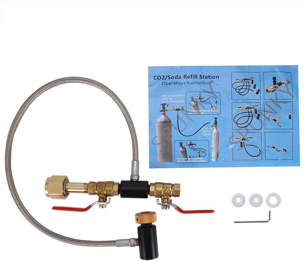 """24 /""""avec jauge Connecteur de recharge CO2 pour le remplissage du r/éservoir Sodastream Adaptateur de remplissage de bouteille de CO2 G1//2 avec tuyau Adaptateur de recharge CO2"""