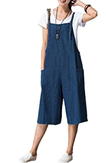 Combinaison Femme Ete Vintage Hippie Chic Jupe Bretelle Large Jambe Jean  Denim Salopette Sarouel Jumpsuit Romper e7464d8d372