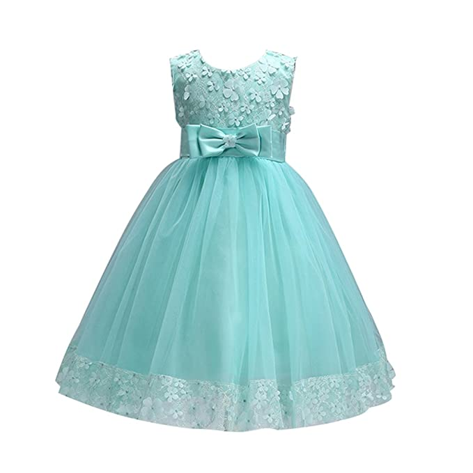 Amazon.com: LSERVER Little and School Girls Tulle Floral Dress with Extender Solid Color: Clothing