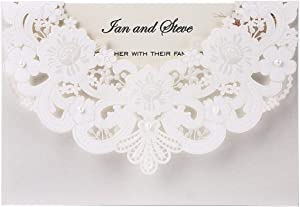 Doris Home 50pcs Ivory Laser Cut Flora Lace invitation cards with Blank Inner Sheets and envelopes for wedding invitations, Bridal Shower, Engagement, Birthday, Baby Shower (50) (White)