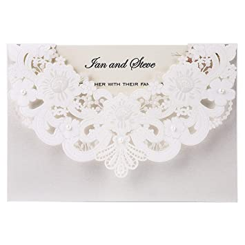Doris Home 50pcs Ivory Laser Cut Flora Lace Invitation Cards With Blank Inner Sheets And Envelopes For Wedding Invitations Bridal Shower Engagement