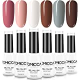 TOMICCA Gel Nail Polish Set, 6 Colors Soak Off UV LED Gel Nail Art Set