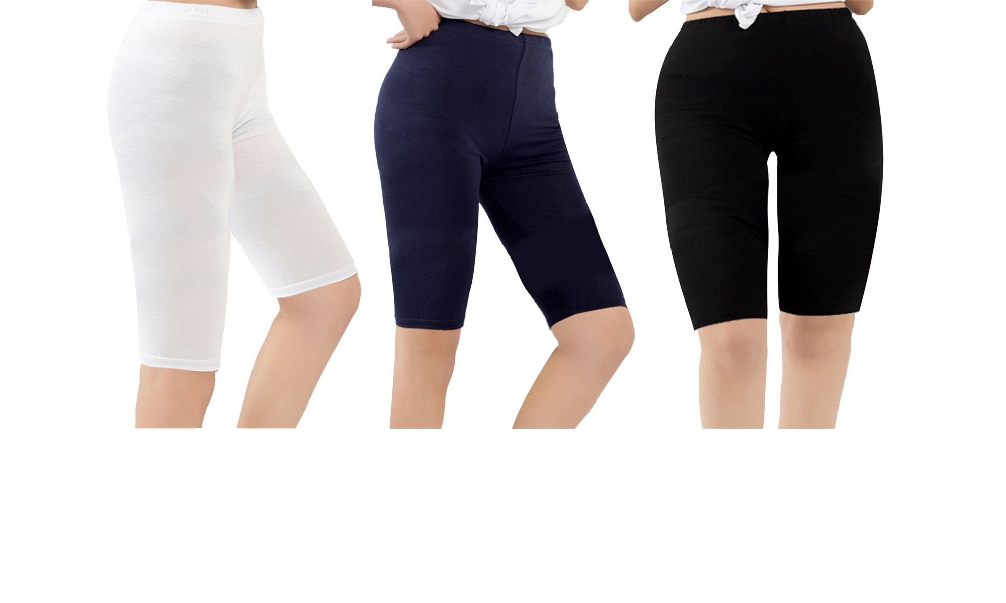 Zando Summer Casual Over The Knee Length Breathable Plus Size Comfort Modal Pants Capris Leggings for Women A 3 Pairs Black & Navy & White US XL-US 1X Plus
