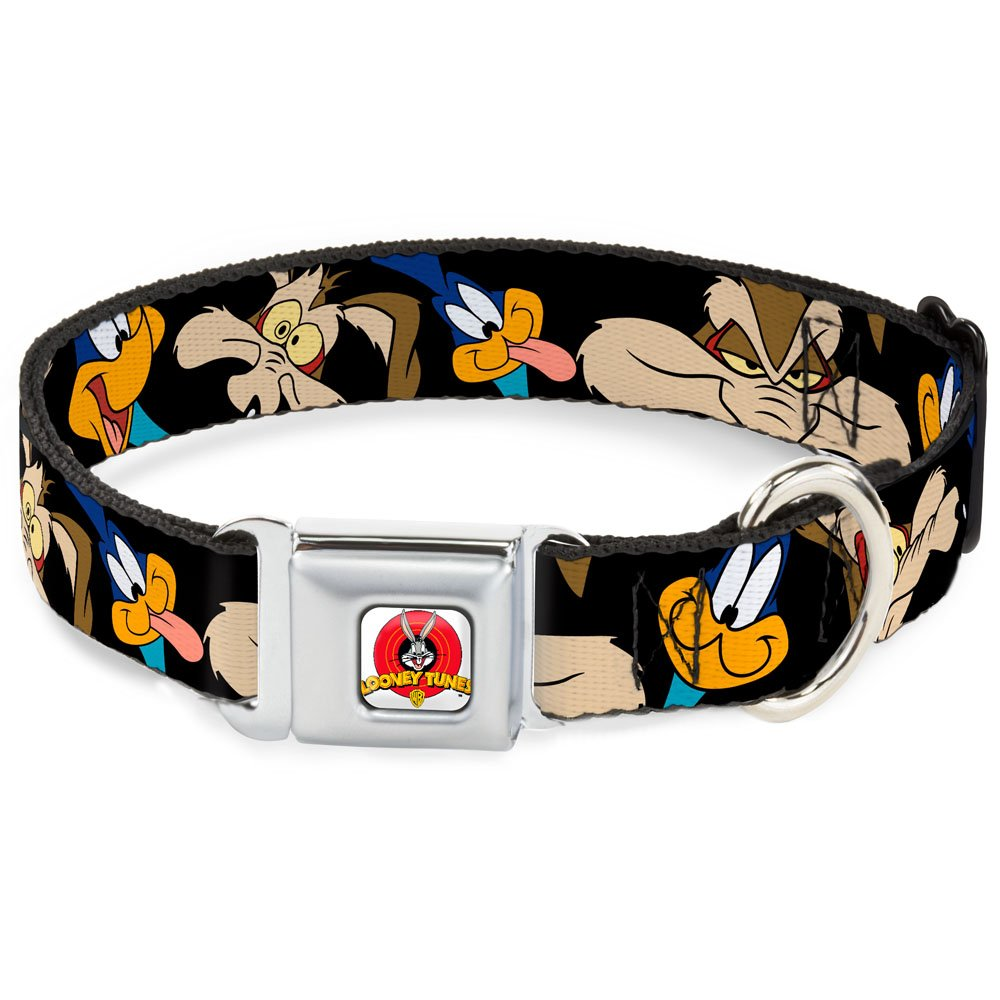 Road Runner Wile E. Coyote Expressions CLOSE-UP Black 1\ Road Runner Wile E. Coyote Expressions CLOSE-UP Black 1\ Buckle-Down Seatbelt Buckle Dog Collar Road Runner Wile E. Coyote Expressions Close-UP Black 1  Wide Fits 15-26  Neck Large