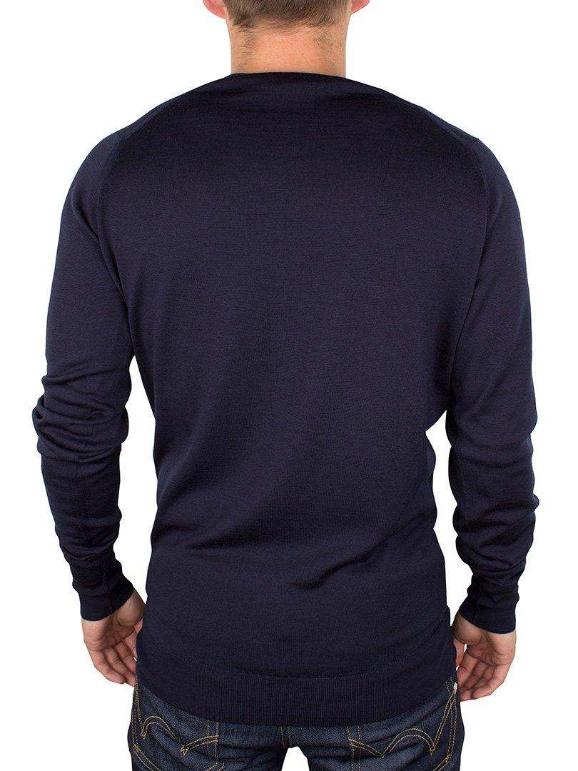 John Smedley Men's Bobby V Neck Merino Sweater, Midnight, Small by John Smedley (Image #3)