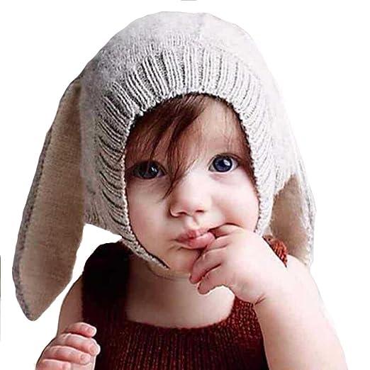 Baby Lining Cute Rabbit Bunny Ear Cap Earflap Hat Newborn Infant Kids  Knitted Autumn Winter Warm a6fbb4b1a7c