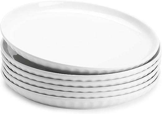 Sweese 156 001 Porcelain Fluted Dinner Plates 10 Inch Set Of 6 White Dinner Plates