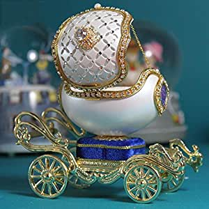 Amazon.com: ZUWIT Cinderella Carriage Music Box Eggshell