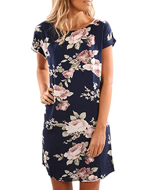 a080af4f36 Xuan2Xuan3 Women Floral Print Short Sleeve Tunic Loose Casual Mini T-Shirt  Dress at Amazon Women's Clothing store: