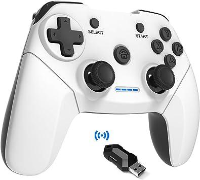 Maegoo Mando PC PS3 TV Inalámbrico, 2.4GHz Wireless Game Controlador Gamepad Joystick con Dual Shock Recargable para Playstation 3 y PC Windows 10 XP 7 8 Smart TV/TV Box (Blanco+Negro): Amazon.es: Electrónica