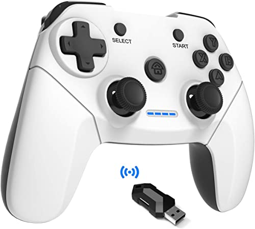 Maegoo Pc Ps3 Controller Wireless 2 4 Ghz Remote Game Controller Gamepad Joystick With Dual Shock Rechargeable For Playstation 3 And Pc Windows 10 Xp 7 8 Smart Tv Tv Box White Black Games
