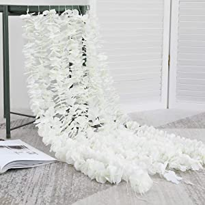 Hawesome 33Ft Artificial Flowers Hydrangea Garlands Silk Wisteria Vines Home Decor Party Wedding Garden Decoration Pack of 10 (White)