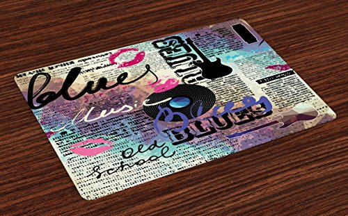Lunarable Old Newspaper Place Mats Set of 4, Retro Blues Music Genre Old Record Electric Guitars Kiss Inscriptions Grunge, Washable Fabric Placemats for Dining Room Kitchen Table Decor, Multicolor