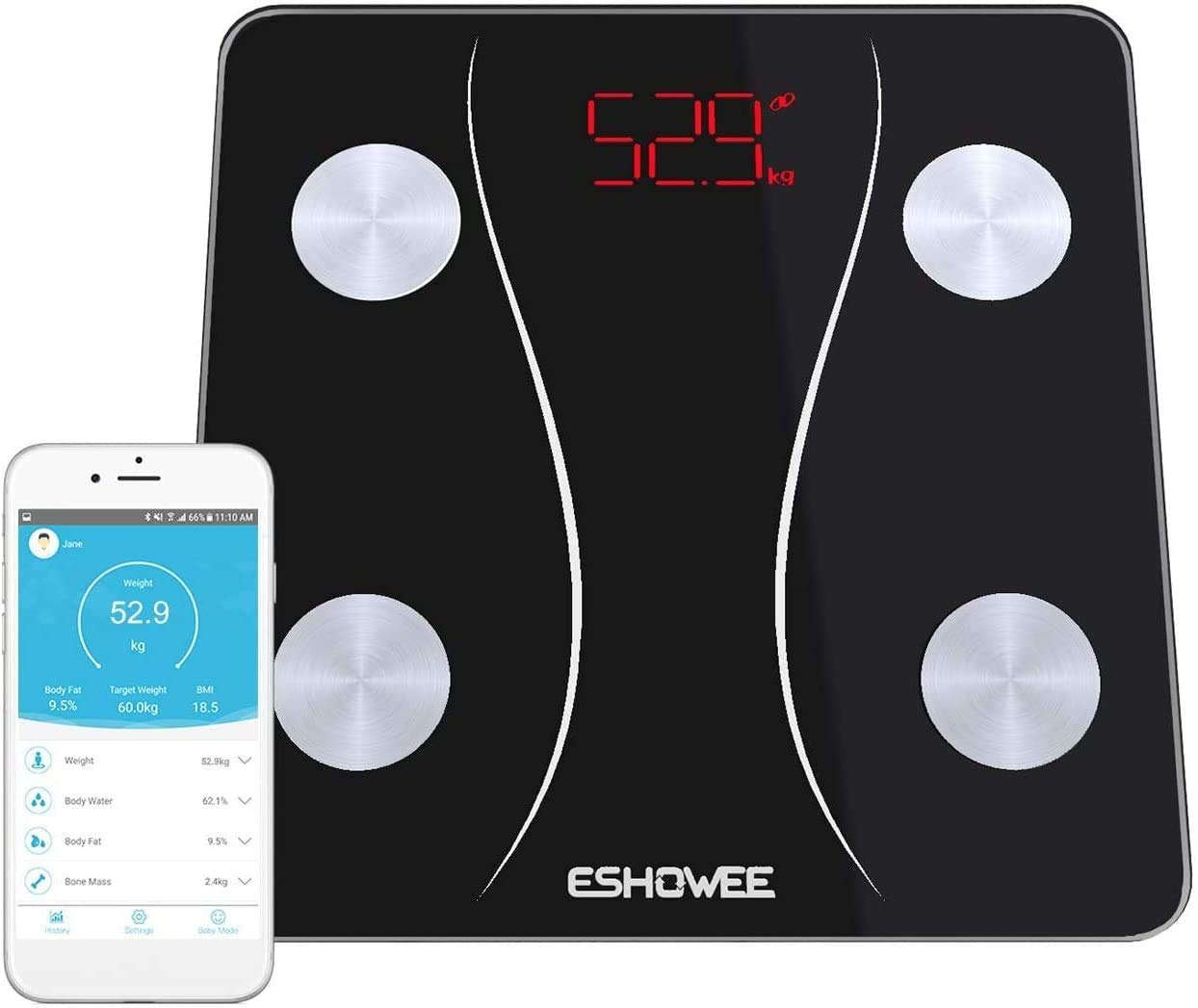 Bluetooth Body Fat Scale, ESHOWEE Smart Wireless BMI Scale Bathroom Digital Weight Scale Body Composition Analyzer with Smartphone App for Water Bone Mass BMR Muscle (White)