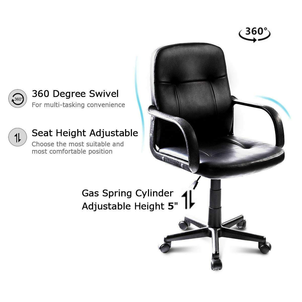 Seleq Compact Black PU Leather Desk Chair for Home Office by Seleq (Image #4)