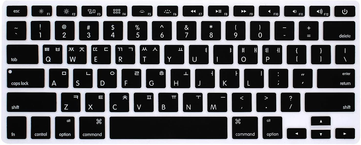 """WYGCH Korean Language Keyboard Cover Compatible MacBook Pro 13"""" 15"""" 17"""" (with or w/Out Retina Display) Silicone Skin for iMac and MacBook Air 13"""",USA Version"""