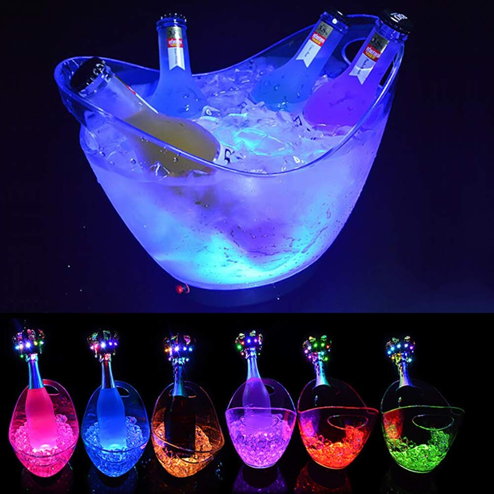 ANJING 8L Acrylic Ice Buckets with LED,Clear