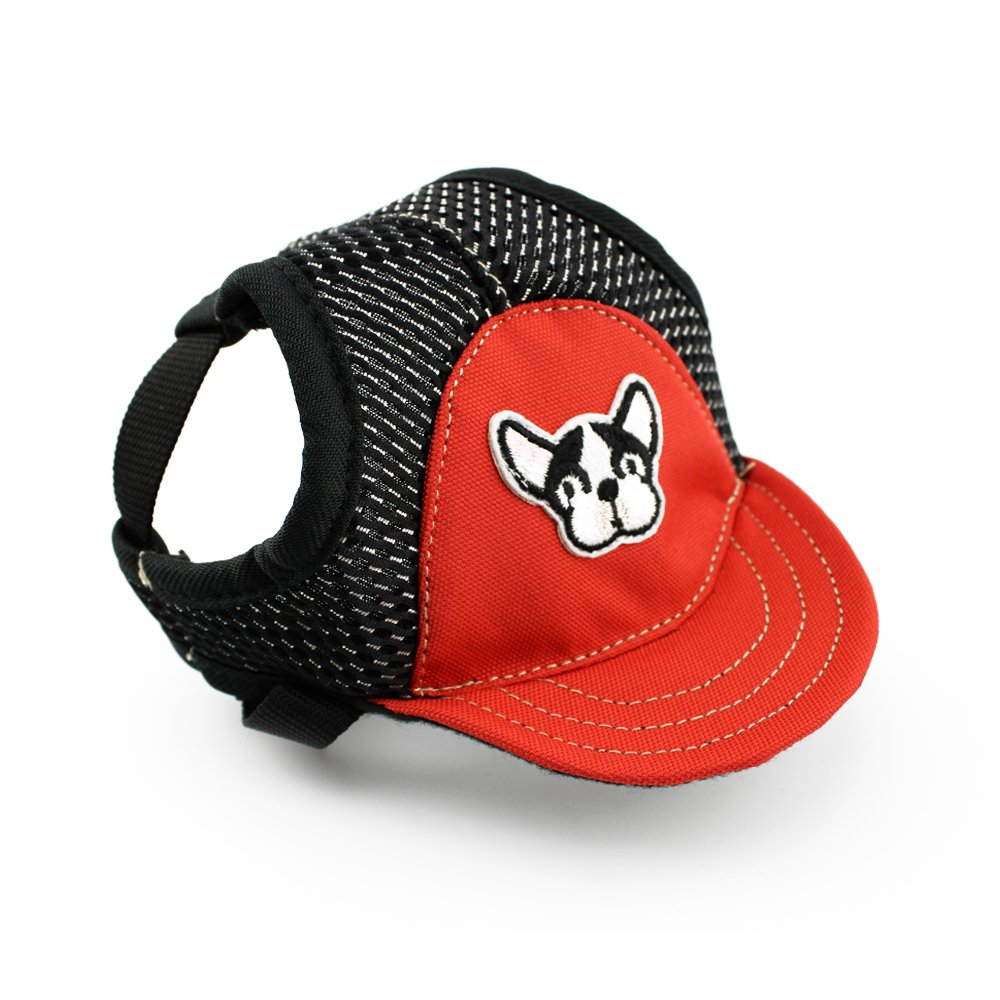 COOSIC Dog Hats/Cap Dogs Sports Baseball Hat Visor Cap with Ear Holes and Chin Strap 3 Sizes Small/Medium/Large 2 Colors Red/Blue