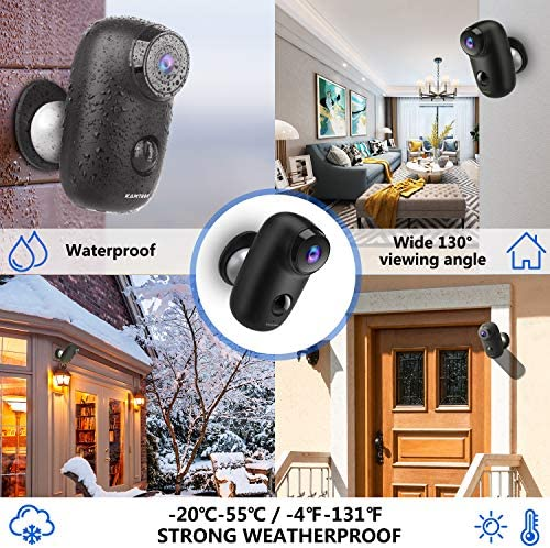 Wireless Outdoor Security Camera, KAMTRON 1080P Home Security Rechargeable Battery Powered Camera 2.4G WiFi with Night Vision, Motion Detection and 2-Way Audio, IP65 Waterproof,Cloud Service, Black