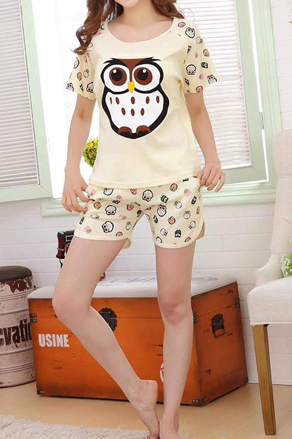 Lasher Womens Summer Cute Owl Printed Pajama Sets Soft Top with Shorts Yellow M at Amazon Womens Clothing store: