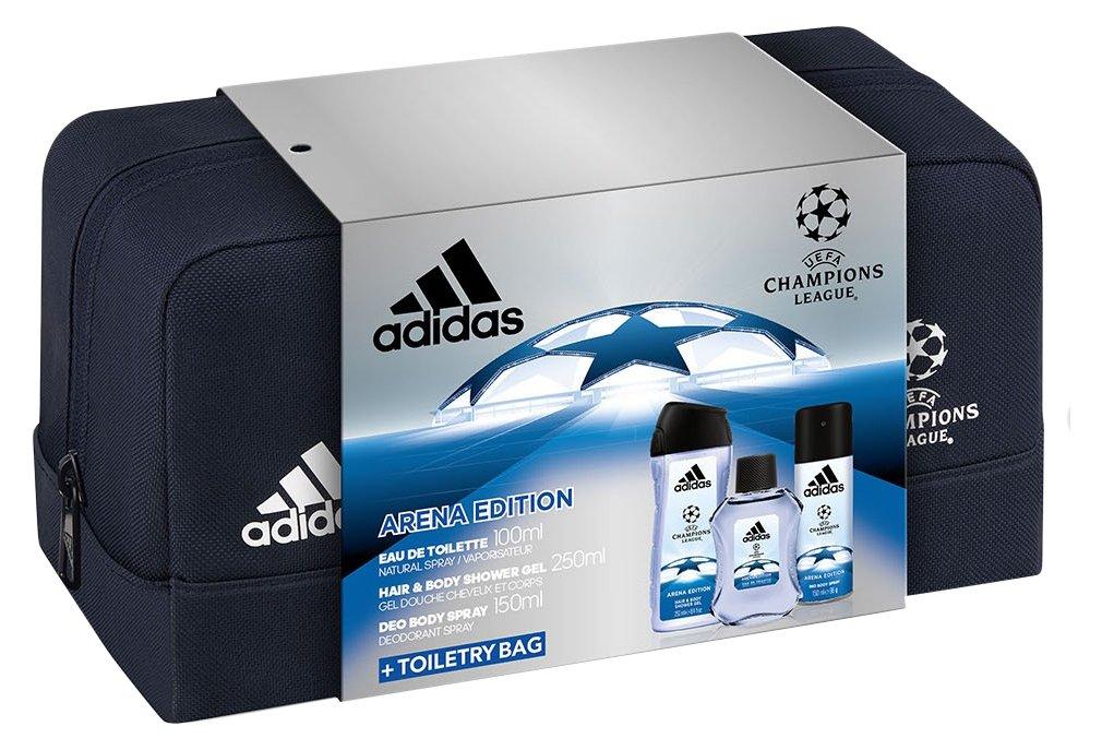 Adidas - Coffret 3 Produits UEFA 3 Arena Edition Eau de Toilette 100 ml + Déodorant 150 ml + Gel Douche 250 ml + Trousse de Toilette Homme 31559209000