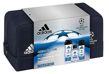 bb0e8f65cad4 Adidas - Set 3 Prodotti UEFA Arena Edition - Eau de Toilette 100 ml + Deodorante  150 ml + Gel Doccia 250 ml + Trousse da Toilette Uomo: Amazon.it: Bellezza
