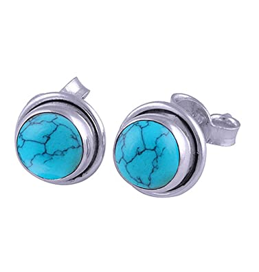 5717c2d3a Natural Blue Turquoise Studs, Post Earrings, Turquoise Stone Earrings For  Women, Girls,