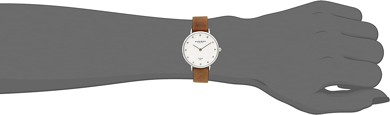 Akribos XXIV Women's Skinny Watch - 12 Genuine Diamond Markers on Genuine Leather Strap - AK882 Stainless Steel/Brown