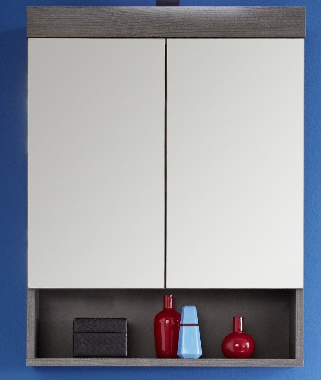 Trendteam rn50121 Meuble miroir salle de bain fumée Argent Imitation - L x H x P 58 x 75 x 18 cm