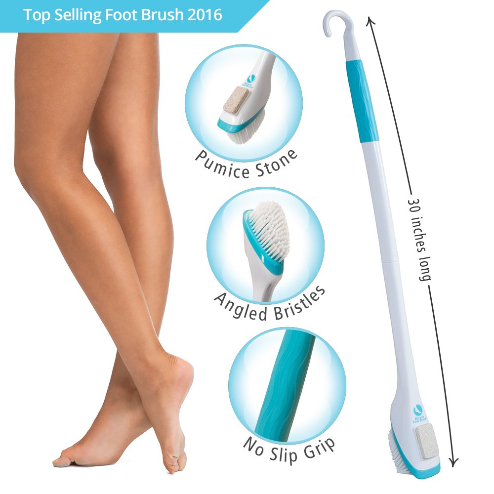 """30"""" Miracle Foot Brush with Scrubbing Pumice Stone and Shower Grip Handle"""