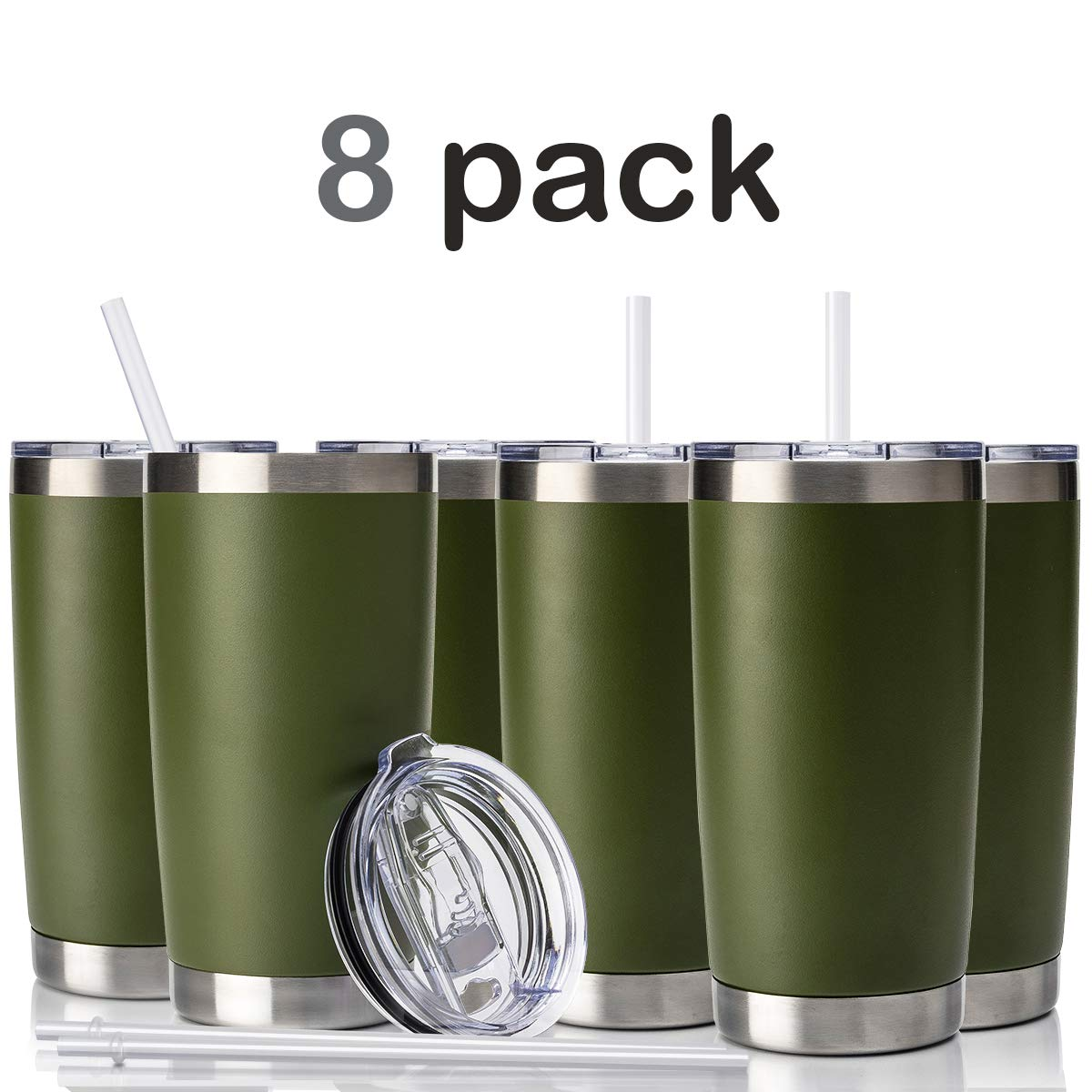 Tumbler with Lid and Straw, Civago 20 oz Stainless Steel Coffee Tumbler Travel Mug Double Wall Vacuum Insulated Coffee Cup Spill Proof, Travel Friendly (Army Green, 8 Pack)