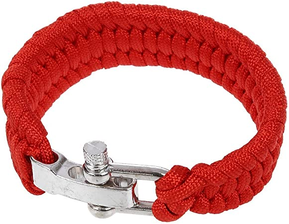 SODIAL(R) 7 Strand Supervivencia Militar pulsera de la cuerda de la armadura de la hebilla - rojo: Amazon.es: Hogar