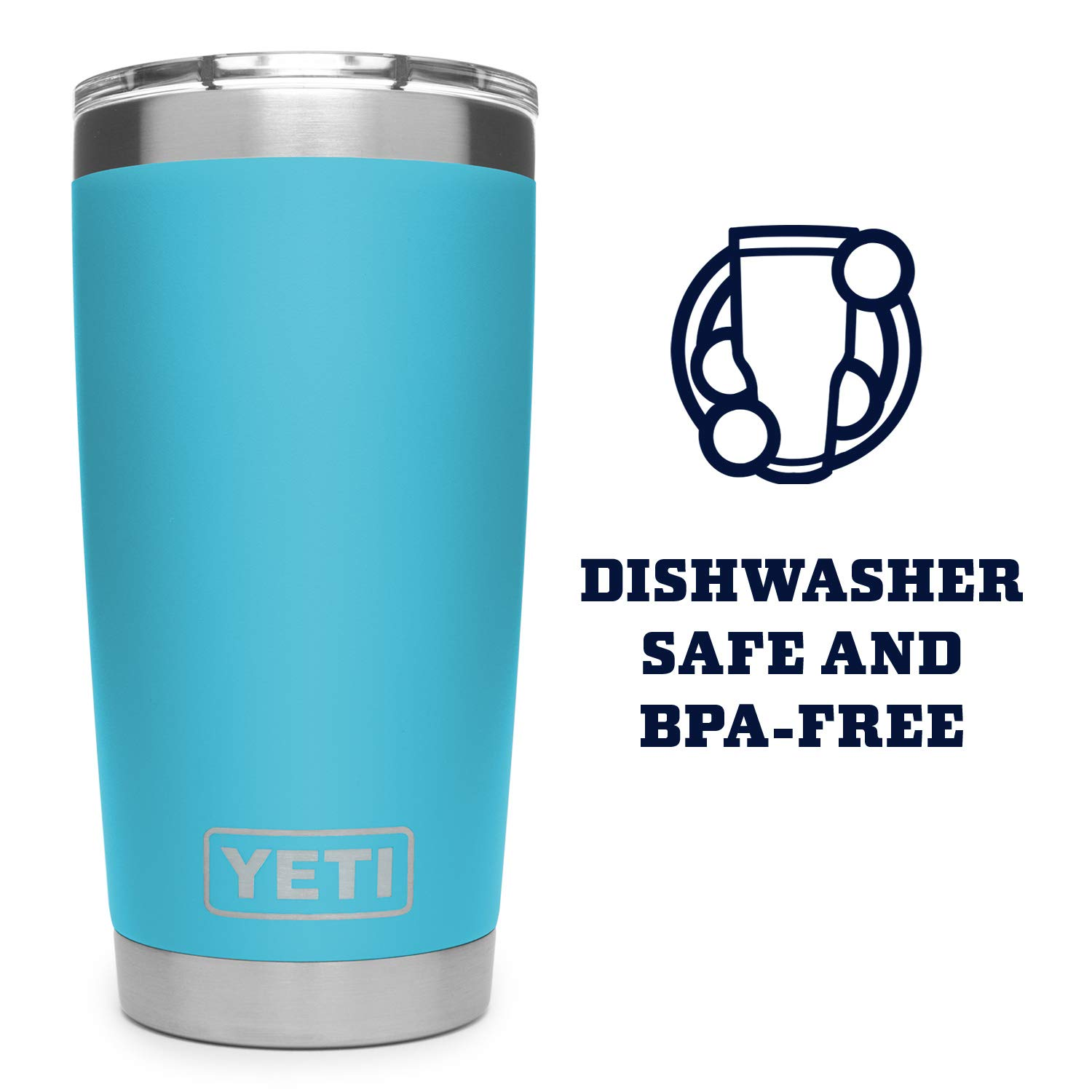 YETI Rambler 20 oz Stainless Steel Vacuum Insulated Tumbler w/MagSlider Lid, Reef Blue by YETI (Image #4)