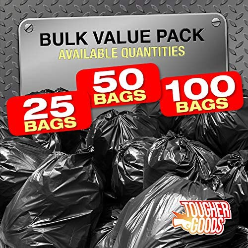 """3 Mil 60 Gallon Contractor Trash Bags - 38""""Wx58""""H Heavy Duty Black Bags for Garbage and Storage - Super Thick Industrial Grade Trash Bags for Construction, Yard Work, Commercial Use (50)"""