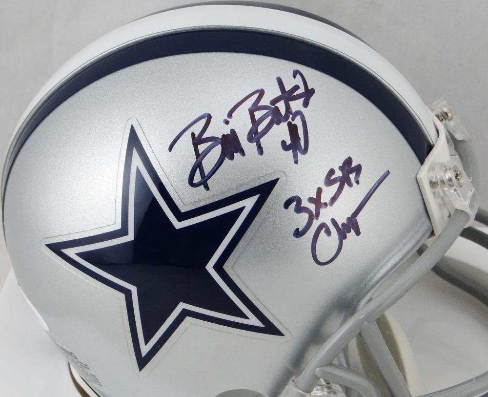 Bill Bates Autographed Dallas Cowboys Mini Helmet w/SB Champ JSA W Auth Black