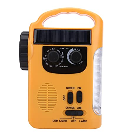 Amazon.com: Emergency AM/FM Radio Flashlight Solar Crank Handle Cellphone Charger for Outdoor Camping Hiking: Sports & Outdoors