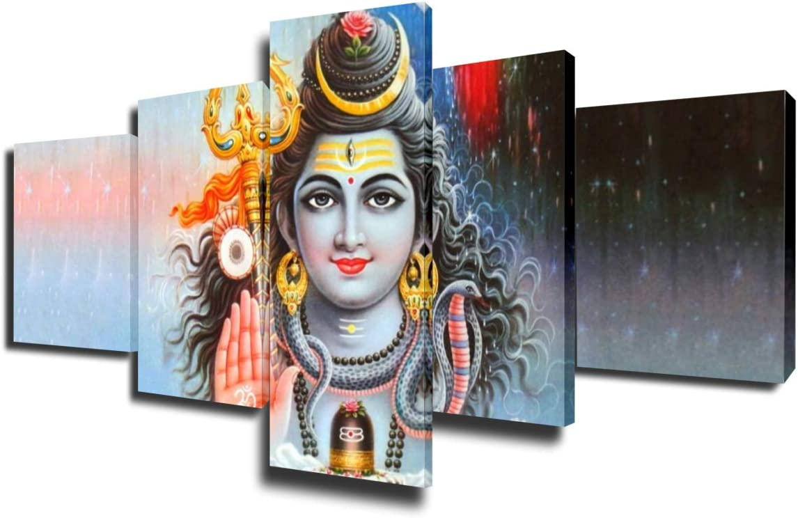 Home Decor Wall Art Lord Shiva Paintings Indian Pictures 5 Piece Canvas Modern Artwork House Decorations Living Room Wooden Framed Gallery-wrapped Stretched Gallery-wrapped Ready to Hang(50''Wx24''H)