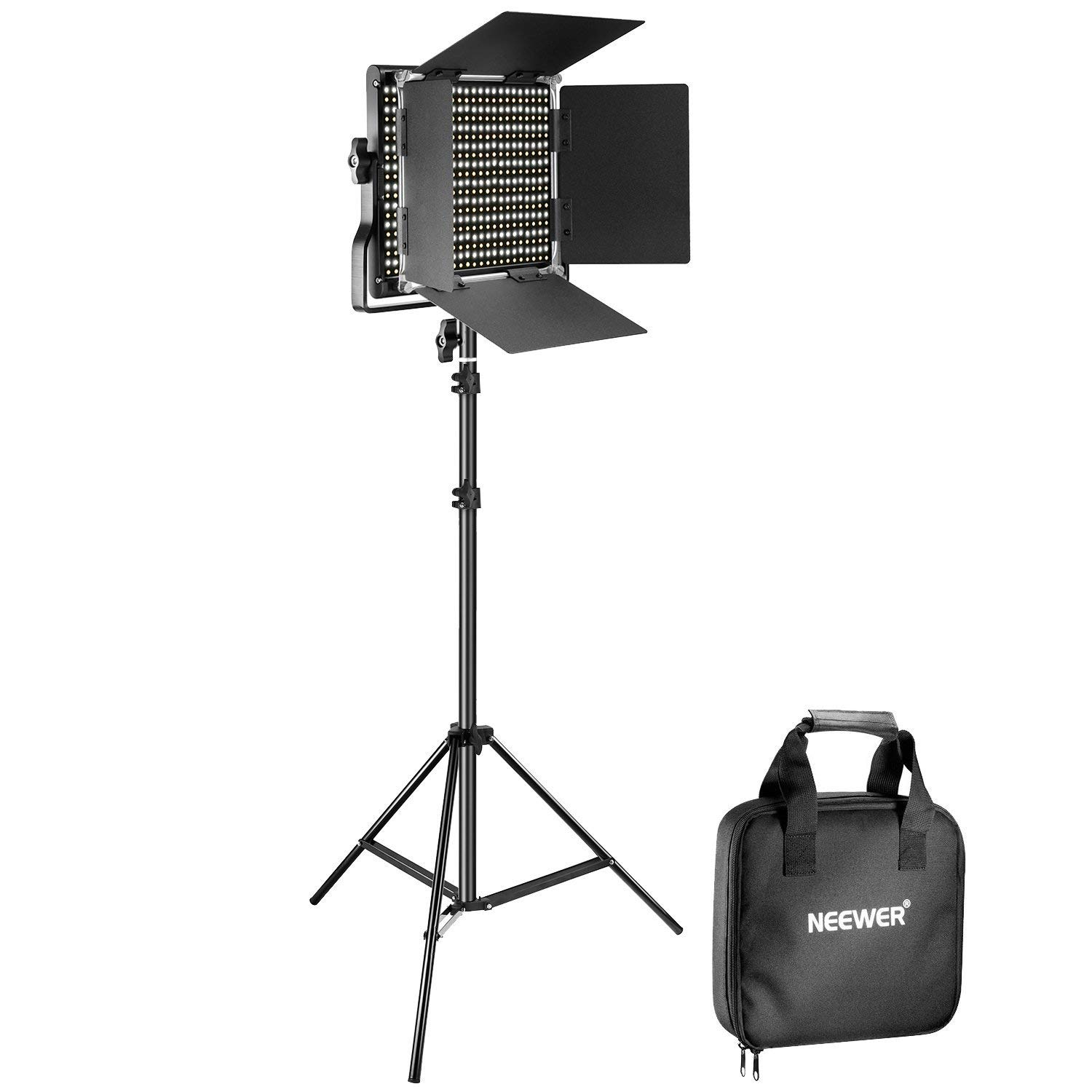 Neewer Bi-Color 660 LED Video Light and Stand Kit Includes: 3200-5600K CRI 96+ Dimmable Light with U Bracket and Barndoor and 75 inches Light Stand for Studio Photography, Video Shooting by Neewer