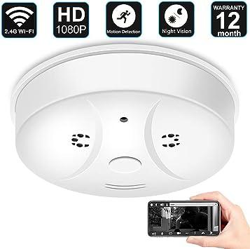 Mini Hidden Wireless Smoke Detector WiFi 1080P Home Security DVR IP Camera