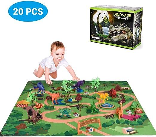 sdgfd Juego de Dinosaurios de Juguete Infantil de 20 Piezas, Alfombra para niños, Juguete de Dinosaurio, con tapete de Juego, Realista, Juguete de Dinosaurio para niños, niñas y niños: Amazon.es: Hogar