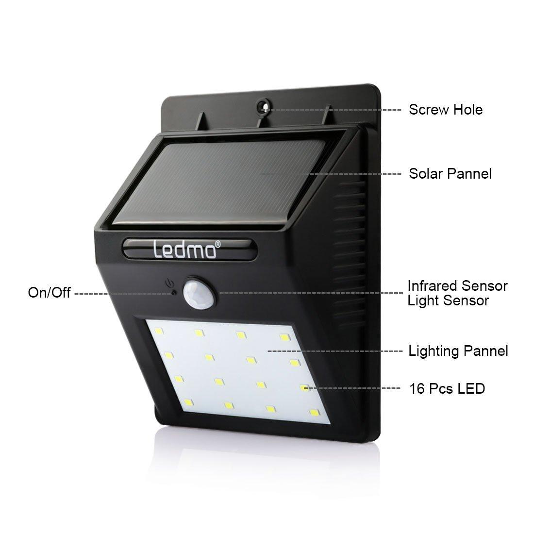 LEDMO 4-Pack Luz Solar LED, 16 LED Lámpara Solar LED, blanco 6000K PIR Sensor de movimiento y sensor ligero impermeable Luz de solar LED con modos ...