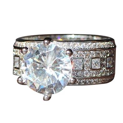 eaf706486 Amazon.com: Alixyz Fashion Trend Luxury Diamonds Six Claw Zircon Ladies  Luxury Ring Exquisite Jewelry: Jewelry