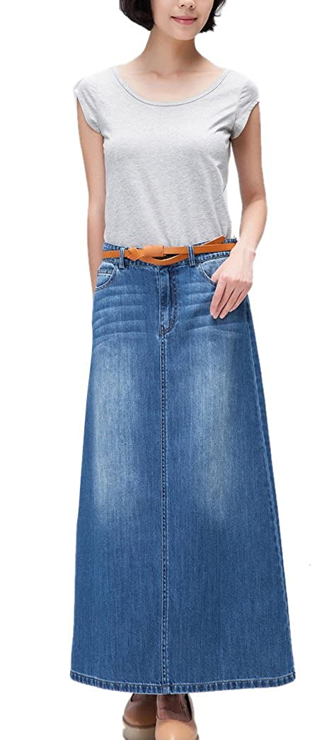 42a2c8a535a Womens Maxi Pencil Jean Skirt- High Waisted A-Line Long Denim Skirts for  Ladies