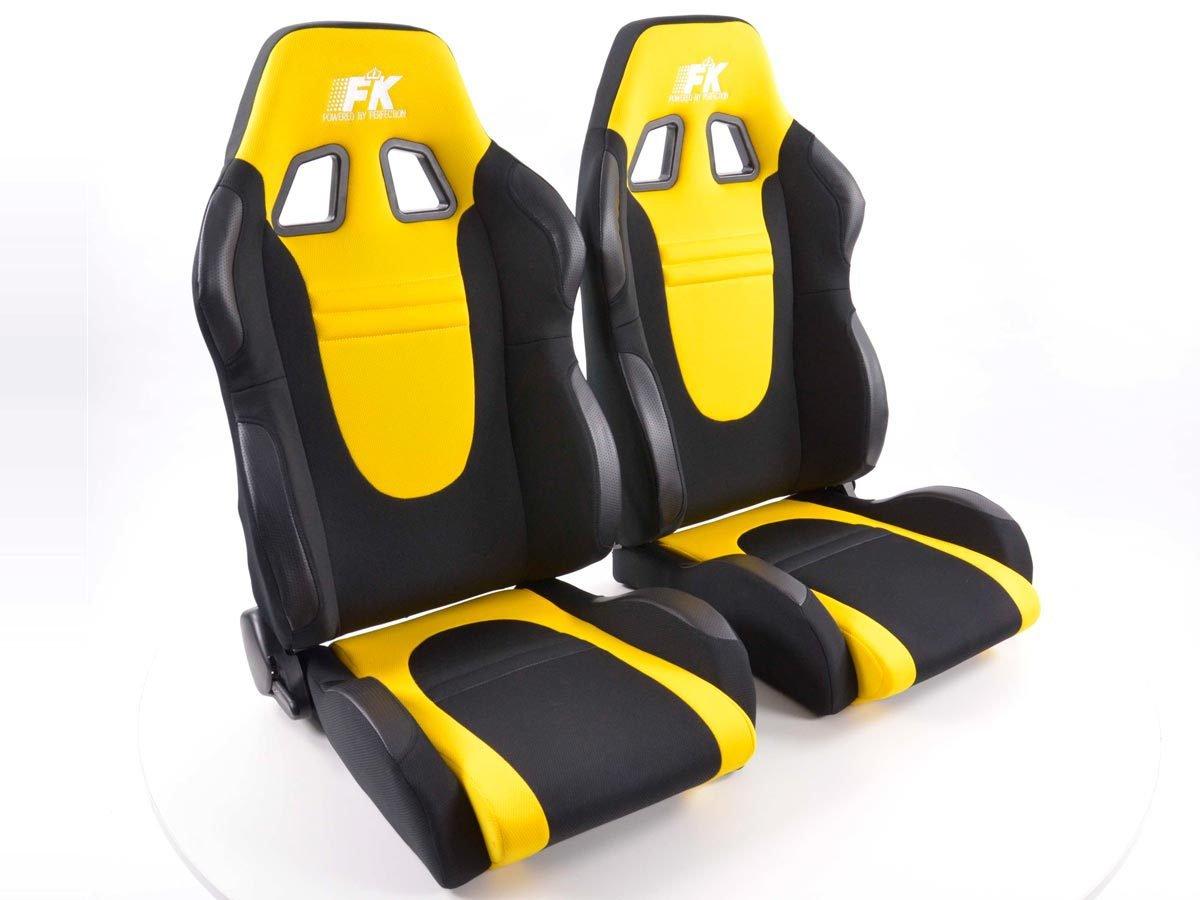 Sportsitz Set Racecar 1xlinks+1xrechts schwarz gelb FK-Automotive