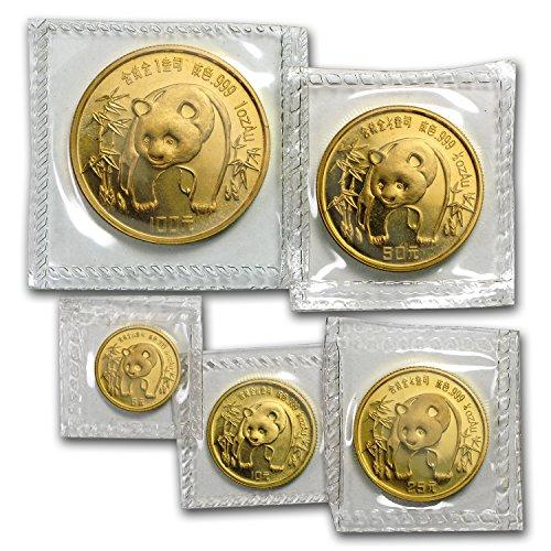 CN 1986 China 5-Coin Gold Panda Set BU (Sealed) Brilliant Uncirculated -
