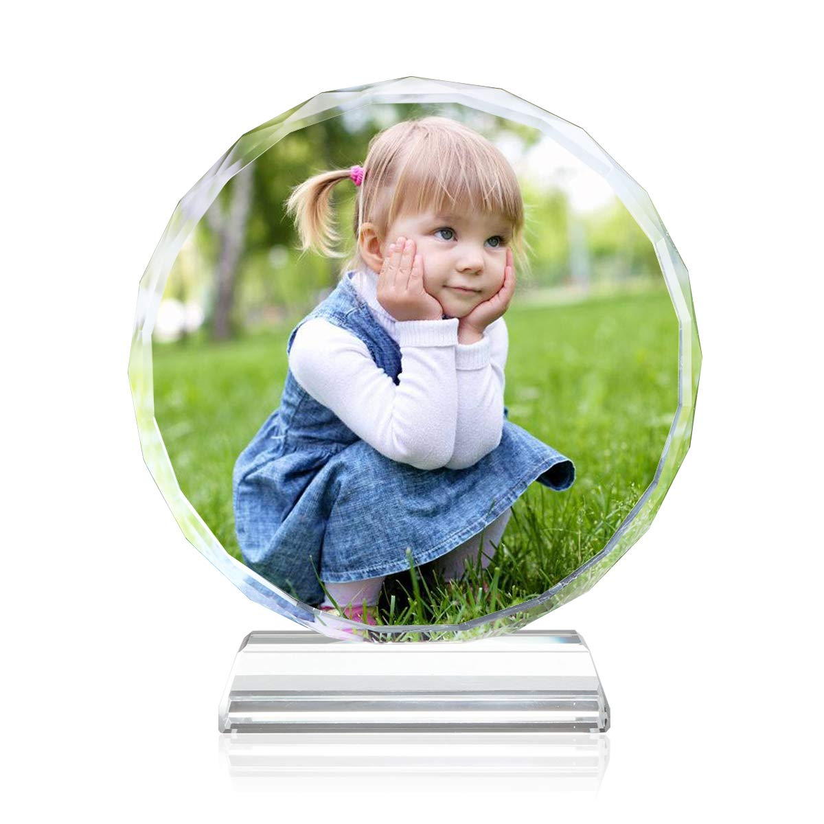 YWHL Personalized Round Glass Picture Frame, Customize Photo Frint Crystal Frame for Kids, Memorial Pictures in Glass Home Decor (Round)