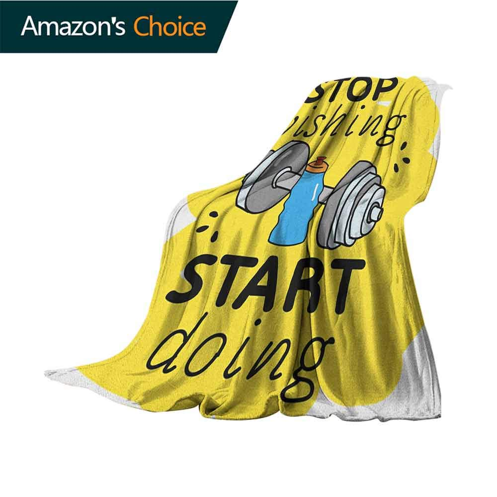 Fitness Blanket,Stop Wishing Start Doing Inspiring Inscription Dumbbells Water Sports Doodle Style Soft,Fuzzy,Cozy,Lightweight Blankets,50'' Wx60 L Multicolor