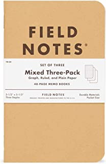 """product image for Field Notes: Original Kraft 3-Pack - Mixed Paper (1 Graph, 1 Ruled, 1 Plain book) - 48 Pages - 3.5"""" x 5.5"""""""
