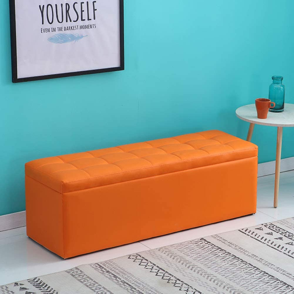 Hm Dx Leather Ottoman With Storage Wipeable Foot Stool With Lid Oil Proof Clothing Organiser Bench Living Room Sofa Stool Coffee Table Orange 30x30x35cm 12x12x14inch Amazon Co Uk Kitchen Home