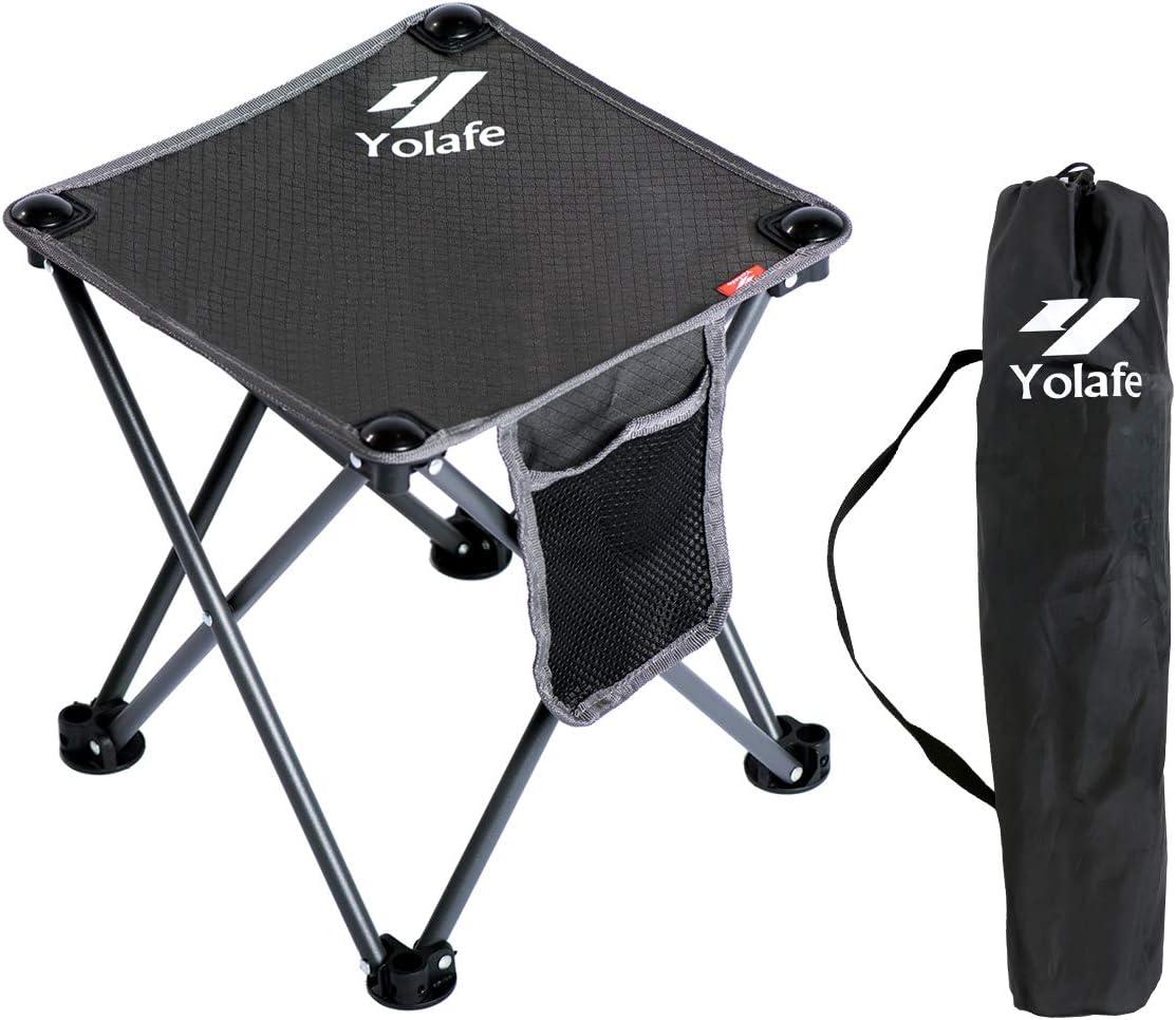 Tabouret de Camping Pliable, Portable, Chaise pour Camping pêche randonnée Jardinage et Plage, Vert Jaune Assise avec Sac Noir
